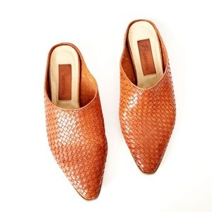 Vintage Picassos Woven Leather Pointed Toe Mules